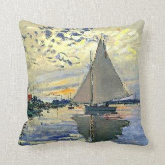 Monet - Sailboat at Le Petit-Gennevilliers Throw Pillow