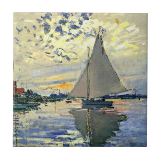 Monet - Sailboat at Le Petit-Gennevilliers Tile
