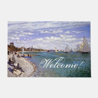Monet Sailboat Beach Impressionism Welcome Doormat