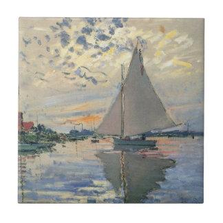 Monet Sailboat French Impressionist Ceramic Tile