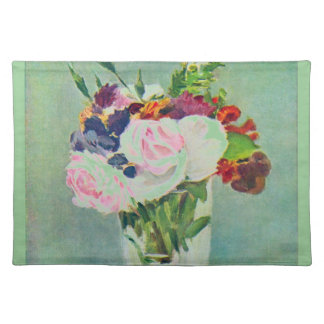 Monet Seafoam Green Pink Flowers Placemat