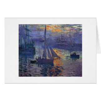 Monet sunrise at sea sailboat painting boating art card