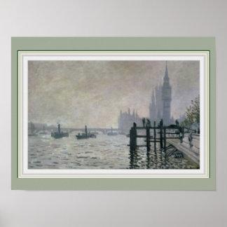 Monet Thames Below Westminster 16 x 12 Poster