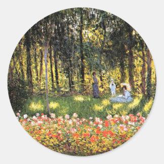 Monet - The Artist's Family in the Garden Classic Round Sticker