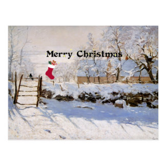 Monet - The Magpie, Christmas Greetings Postcard