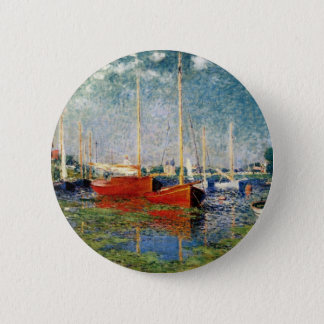 Monet - The Red Boats Argenteuil 2 Inch Round Button