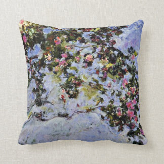 Monet - The Rose Bush Throw Pillow