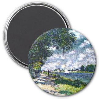 Monet: The Seine at Argenteuil artwork 3 Inch Round Magnet