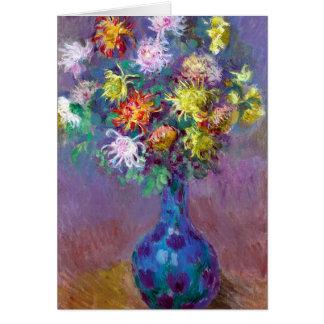 Monet Vase de Chrysanthemes Flowers Card