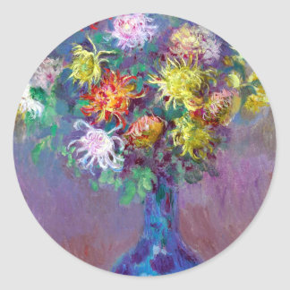 Monet Vase de Chrysanthemes Flowers Classic Round Sticker