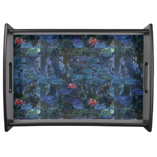 Monet Water Lilies and Reflections of a Willow Serving Tray