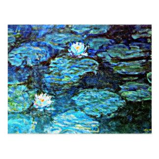 Monet - Water Lilies, Blue Postcard