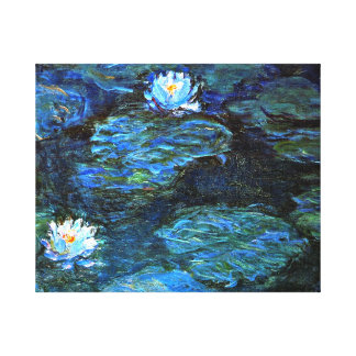 Monet - Water Lilies (blue) Stretched Canvas Print