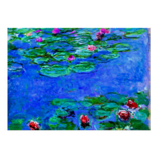 Monet - Water Lilies (red) Poster