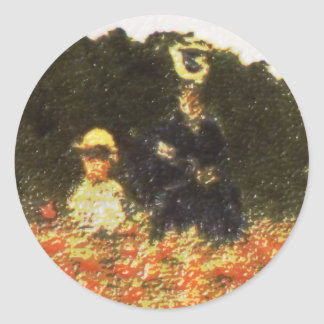 monet - wife and son classic round sticker