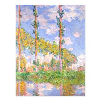 Monet Wind Poplars in Sun Vintage Landscape Postcard