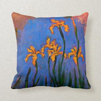 Monet- Yellow Irises Throw Pillow