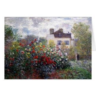 Monet's Garden with Dahlias Fine Art Card