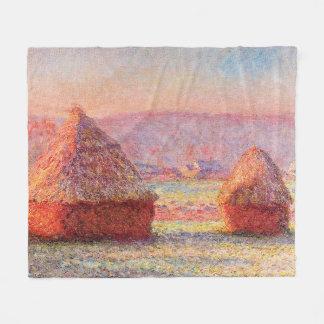Monet's Haystacks, White Frost, Sunrise Fleece Blanket