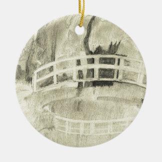 Monet's Japanese Bridge- Black and White Ceramic Ornament