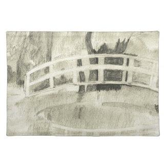 Monet's Japanese Bridge- Black and White Placemat