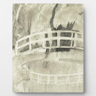 Monet's Japanese Bridge- Black and White Plaque