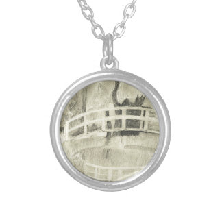 Monet's Japanese Bridge- Black and White Silver Plated Necklace