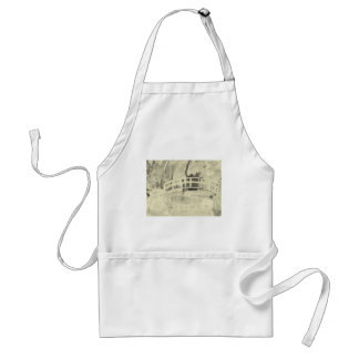 Monet's Japanese Bridge- Black and White Standard Apron
