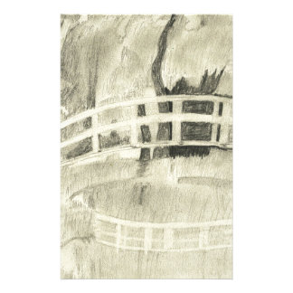 Monet's Japanese Bridge- Black and White Stationery