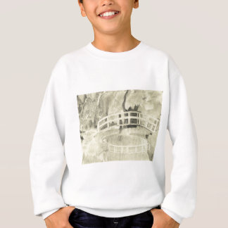 Monet's Japanese Bridge- Black and White Sweatshirt