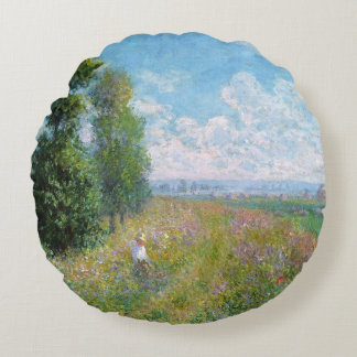 Monet's Meadow with Poplars - Round pillow