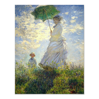 """Monet's Woman with a Parasol (The Stroll / Walk) 4.25"""" X 5.5"""" Invitation Card"""