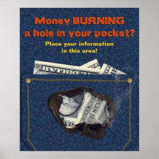 MONEY Burning Hole in Pocket Poster
