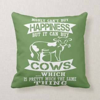 Money can't buy happiness throw pillow