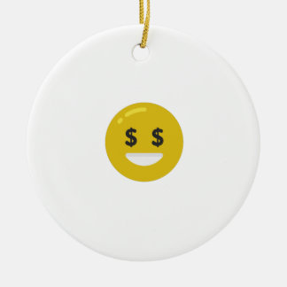 money eye emoji ceramic ornament