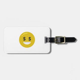 money eye emoji luggage tag