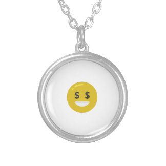 money eye emoji silver plated necklace