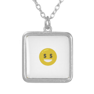 money eye emoji silver plated necklace
