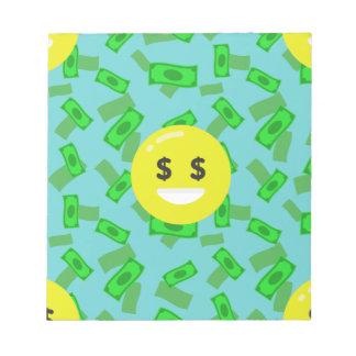 money eyed emoji notepad