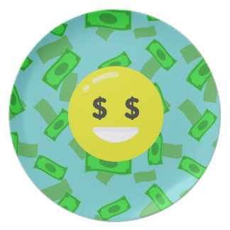money eyed emoji plate