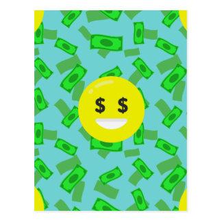 money eyed emoji postcard
