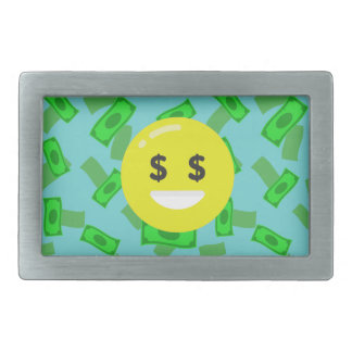 money eyed emoji rectangular belt buckle