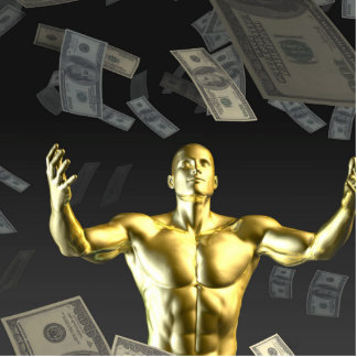 Money Falling From the Sky with Man Below Photo Sculpture Ornament