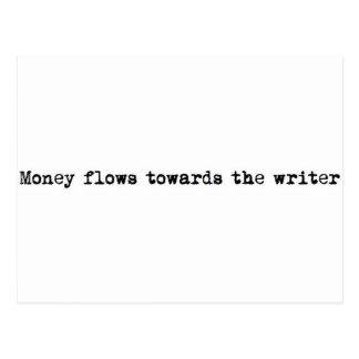 Money flows towards the writer postcard