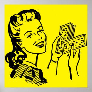 Money Girl Pop Art Large Poster