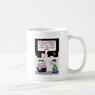 money laundering falls apart coffee mug