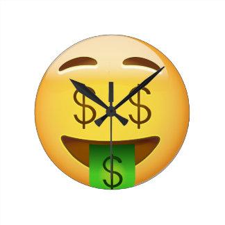 Money-Mouth Face Emoji Round Clock