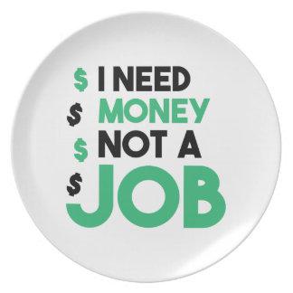Money Not A Job Party Plate
