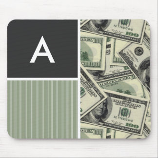Money Pattern; Green Mouse Pad