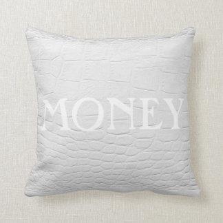 MONEY // POWER on white crocodile leather Throw Pillow